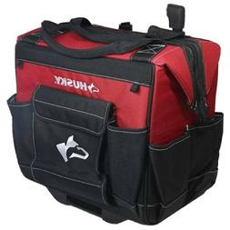 "14"" HUSKY Rolling Portable Tool Tote  Bag with Wheels - Blac"