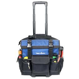 15-inch Rolling Tool Bag Tote With Pop Up Handle Wheels Cons