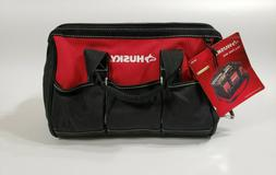 Husky 15 inch Tool Bag Water Resistant Wide Mouth 8-Pockets