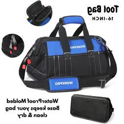 16 Inch Heavy Duty Deep Wide Mouth Tool Bag Organizer W/ Wat