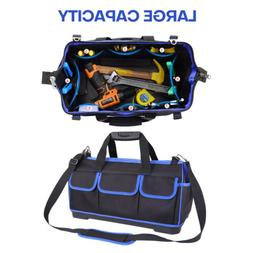 """18"""" 20"""" Wide Mouth Tool Bag Heavy Duty Carry Tote Storage w/"""