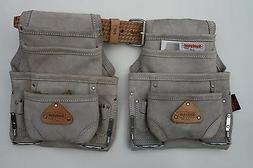 2 - 10 pocket carpenter nail & tool bag w/ leather belt cons