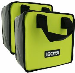 2 PK RYOBI Lime Green Genuine OEM Tool Tote Zipper Tool Bag,