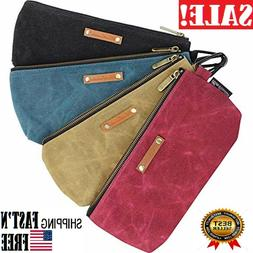 4 Pcs Tool Bags Waxed Canvas with Heavy Duty Metal Water Res