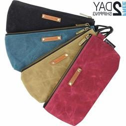 4 Zipper Pouch Tool Bags Waxed Canvas with Heavy Duty Metal