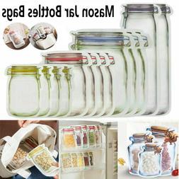5-30x Reusable Mason Jar Bottles Bags Nuts Fresh Food Zipper