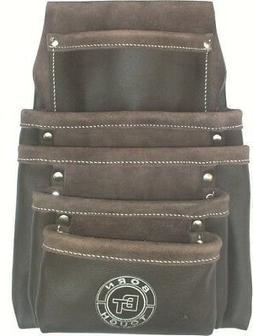Born Tough 5 Pocket Oil Tanned Leather Nail & Tool Pouch Bag