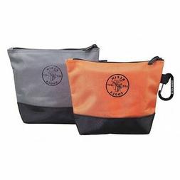 "KLEIN TOOLS 55470 Stand-Up Zipper Bags, 6-1/2"" Orange Bag,"