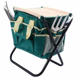 7 PCS Garden Tool Bag Set Folding Stool Tools Gardening Stai
