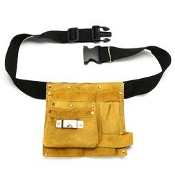 8/14 Pockets Leather Waist <font><b>Tool</b></font> Belt Pou