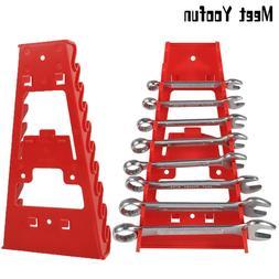 9 Slot Wrench Holder Red Plastic Spanner Organizer Sorter Ho