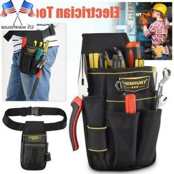 Black Electrician Tool Bag Waist Pocket Pouch Belt Storage H