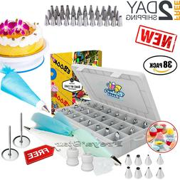 Cake Decorating Tools Set Kit 38 Tips Pastry Bags Nozzles Su