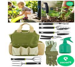 Vremi 9 Piece Garden Tools Set - Gardening Tools with Garden