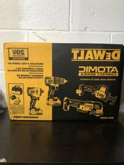 DEWALT ATOMIC 20V Cordless 4 Tool Combo Kit 2 Ah Li Ion Batt