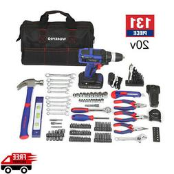 20v Cordless Drill Kit Battery Charger Accessories Mechanics