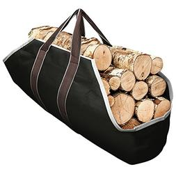 Large Canvas Log Tote Bag Carrier Indoor Fireplace Firewood