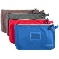 Aidenia Canvas Zipper Tool Bags , 4-Pack