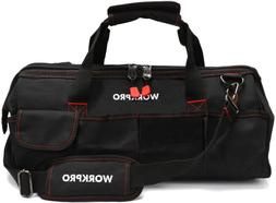 """WORKPRO Close Top Storage Tool Bag, 18"""", Black/Red, W081023A"""