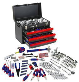 WORKPRO 408PC Handtool Set 3-Drawer Metal Box Repair Tool Ki