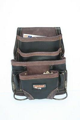 Oil Tanned Leather 10 pkt Carpenter Tool Pouch Waist Bag w/