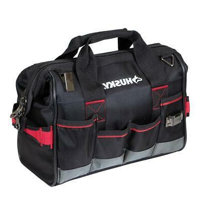 HUSKY Large Mouth Tool Bag 14 in.Heavy Duty Organizer W/ Dua