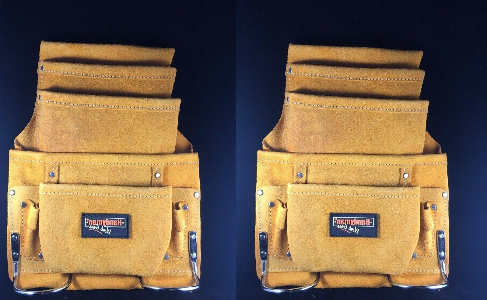 2-PACK !! 10 pocket carpenter electrician nail & tool bag be