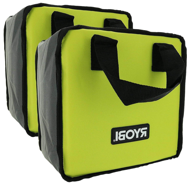 2 PK RYOBI Lime Green Genuine OEM Tool Tote Zipper Tool Bag,
