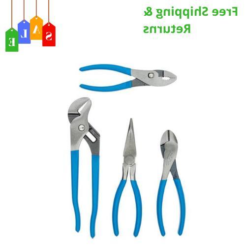 4 Piece Ultimate Plier Set Slip Joint Channel Lock Wire Cutt