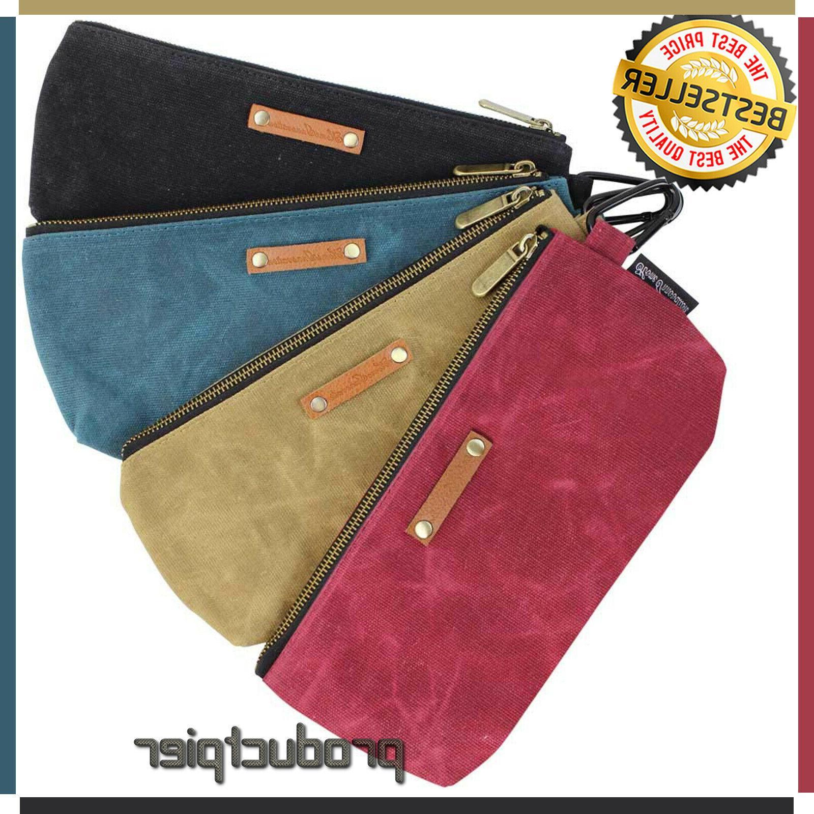 4 zipper pouch tool bags waxed canvas
