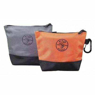 "KLEIN TOOLS 55470 Stand-Up Zipper Bags, 6-1/2"" Orange Bag,"