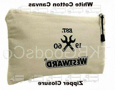 CANVAS TOOL BAG White Zipper Closure Carry Small Parts Compo