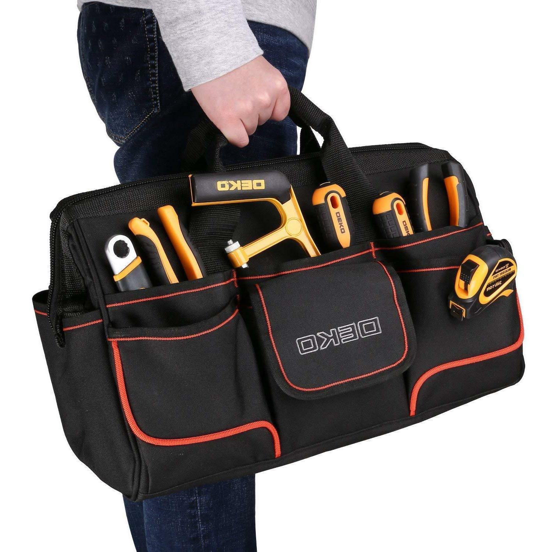 DEKO Large 7 Pocket Heavy Duty Tool Bag Wide Mouth Water Pro