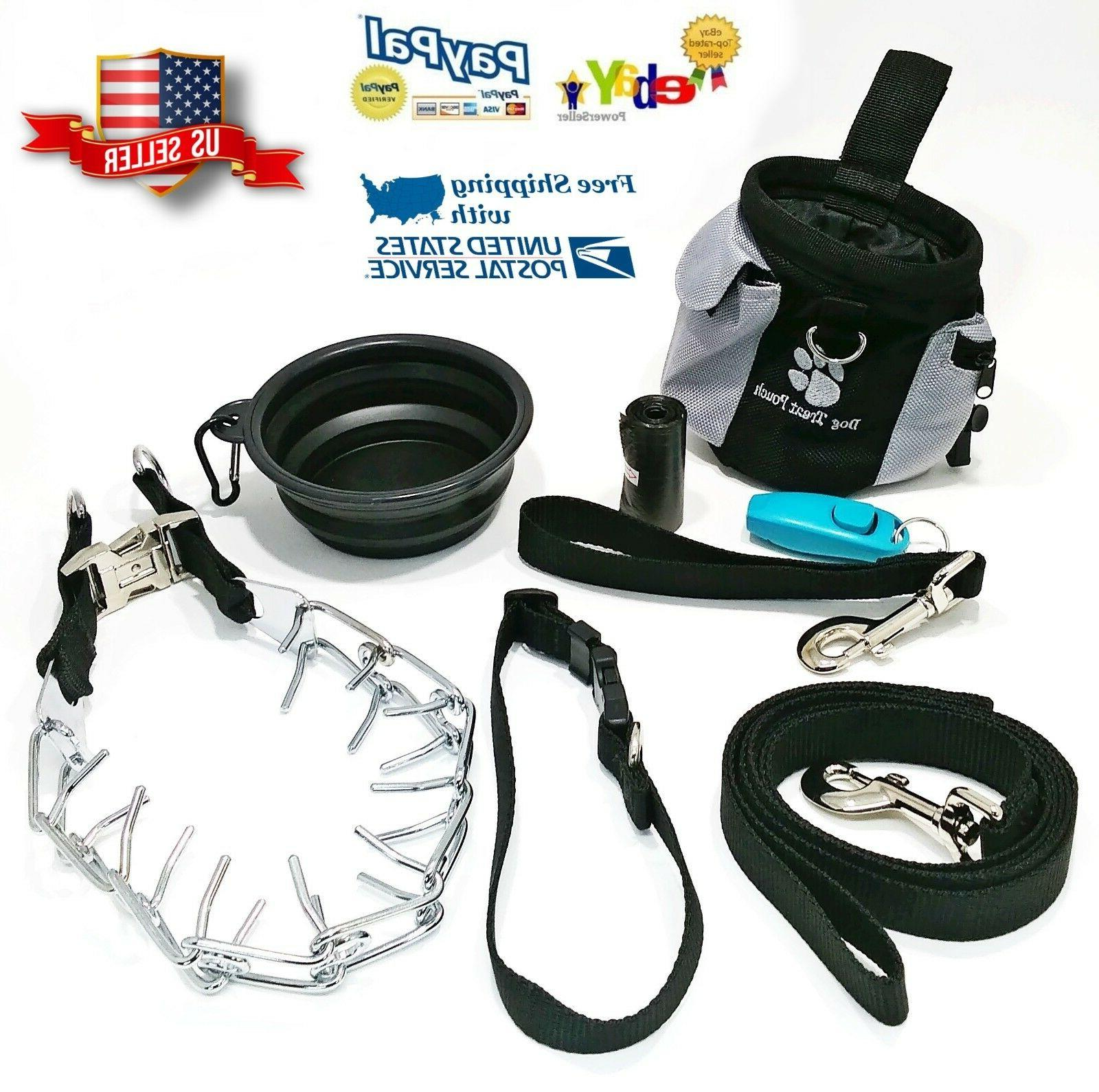 Dog Training Prong Pinch Collar 8 Piece Kit Set Leash Treat