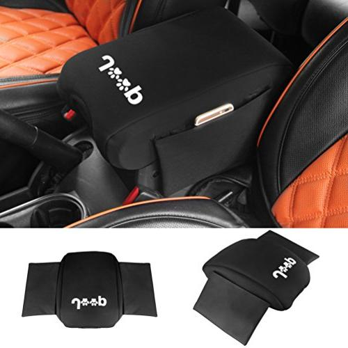 Neoprene Center Console Armrest Pad Cover with Storage Bag F