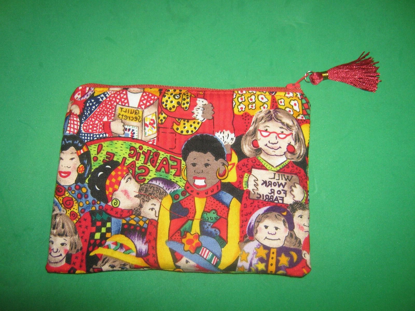 QUILTING TOOL BAG-Cloth Zipper Pouch-Make Up Bag-Stash Bag-H