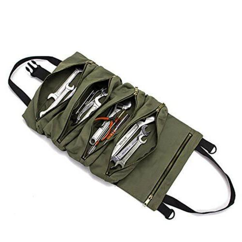Canvas Tool Roll Bag Foldable Hanging Tool Orgaziner with 5