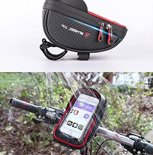 MOOZO Bike Handlebar Bicycle Mount, Cycling Frame Top Pouch iPhone Xs 7 6 6S Samsung Galaxy S8 Edge Plus S6 Sony Smartphones