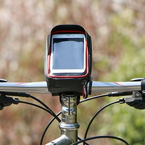 MOOZO Handlebar Bicycle Frame Top Pouch iPhone X 7 6 Samsung Galaxy S8 Edge S6 S6 Sony Smartphones Below