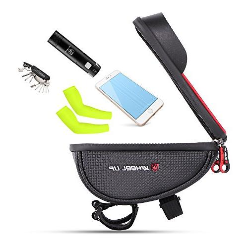MOOZO Handlebar Bag, Bicycle Phone Frame Bags Top Pouch Holder for iPhone 7 6S Plus Samsung Galaxy S7 Edge S6 Edge Plus S6 HTC Sony Smartphones Below 6''