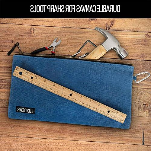 "Waxed Canvas Bundle - - - Gauge Brass - 12.5"" x 7"" - Tool Pouches - Multipurpose in Screwdriver 16 Foot Measure Included"
