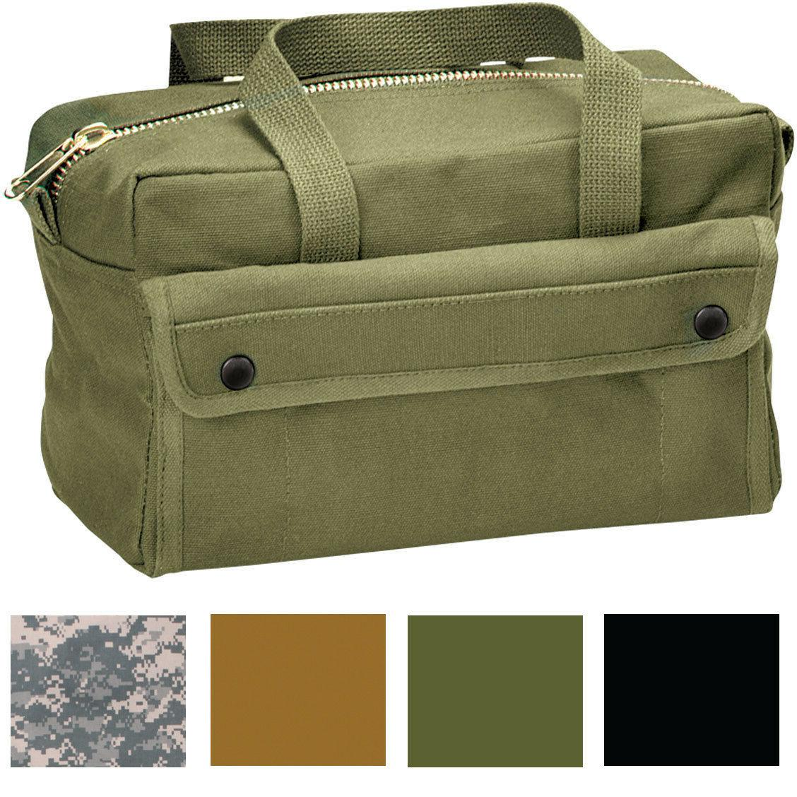 Canvas Tool Bag Brass Zipper Military Tote Army Heavy Duty S