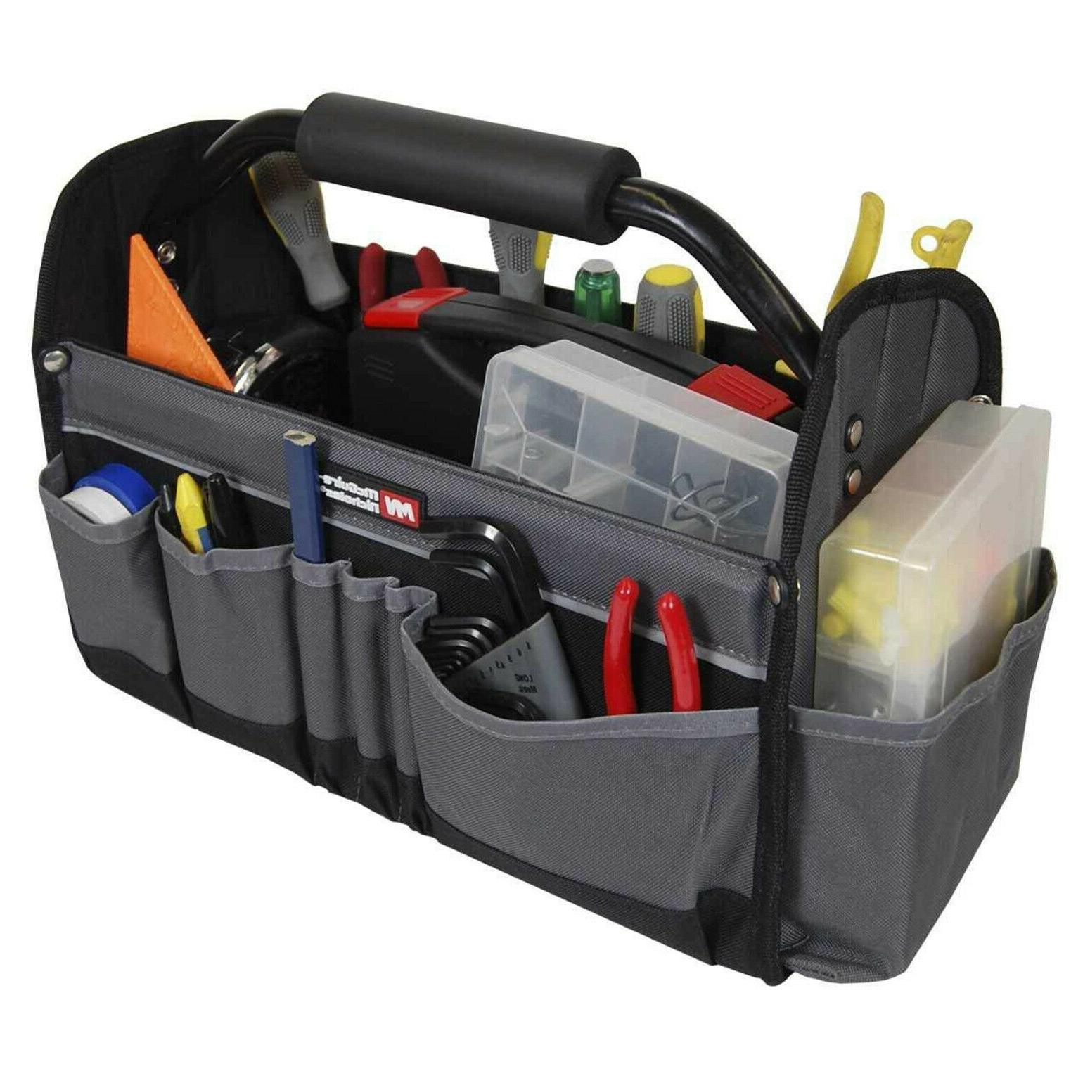 "Electricians Tool Bag Open Top Stiff Frame Tote Box 15"" Util"