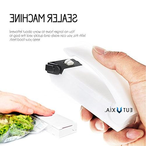 Eutuxia Mini Heat Sealer Machine for Kitchen Tool. for for Sealing Cereal Bags, Leftovers.