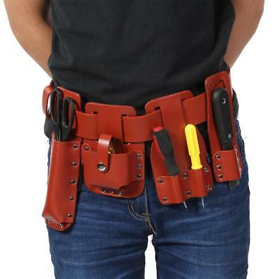 Multi Tool Work Leather Bag Real Leather Tool Belt Dark Red