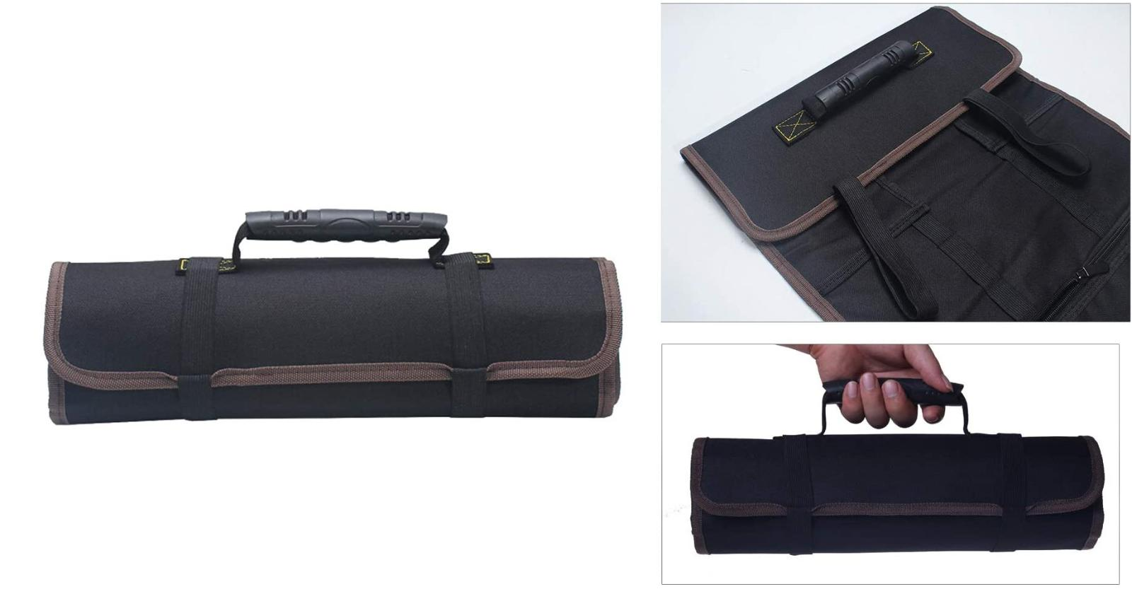 Roll Up Tool Pouch Canvas Wrench Socket Bag Hand Tools Slot