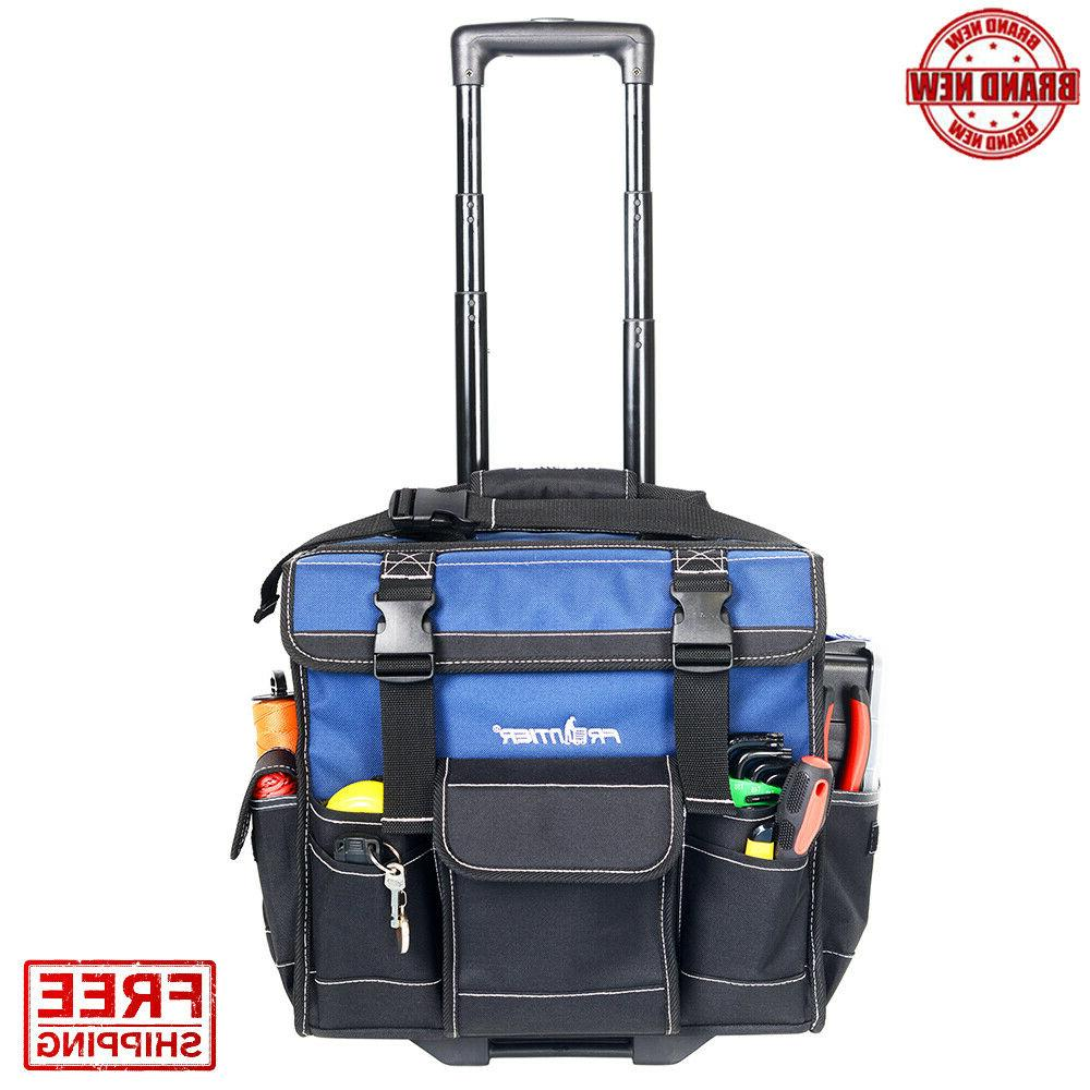 Rolling Tool Bag 15-inch Tote With Pop Up Handle Heavy Duty