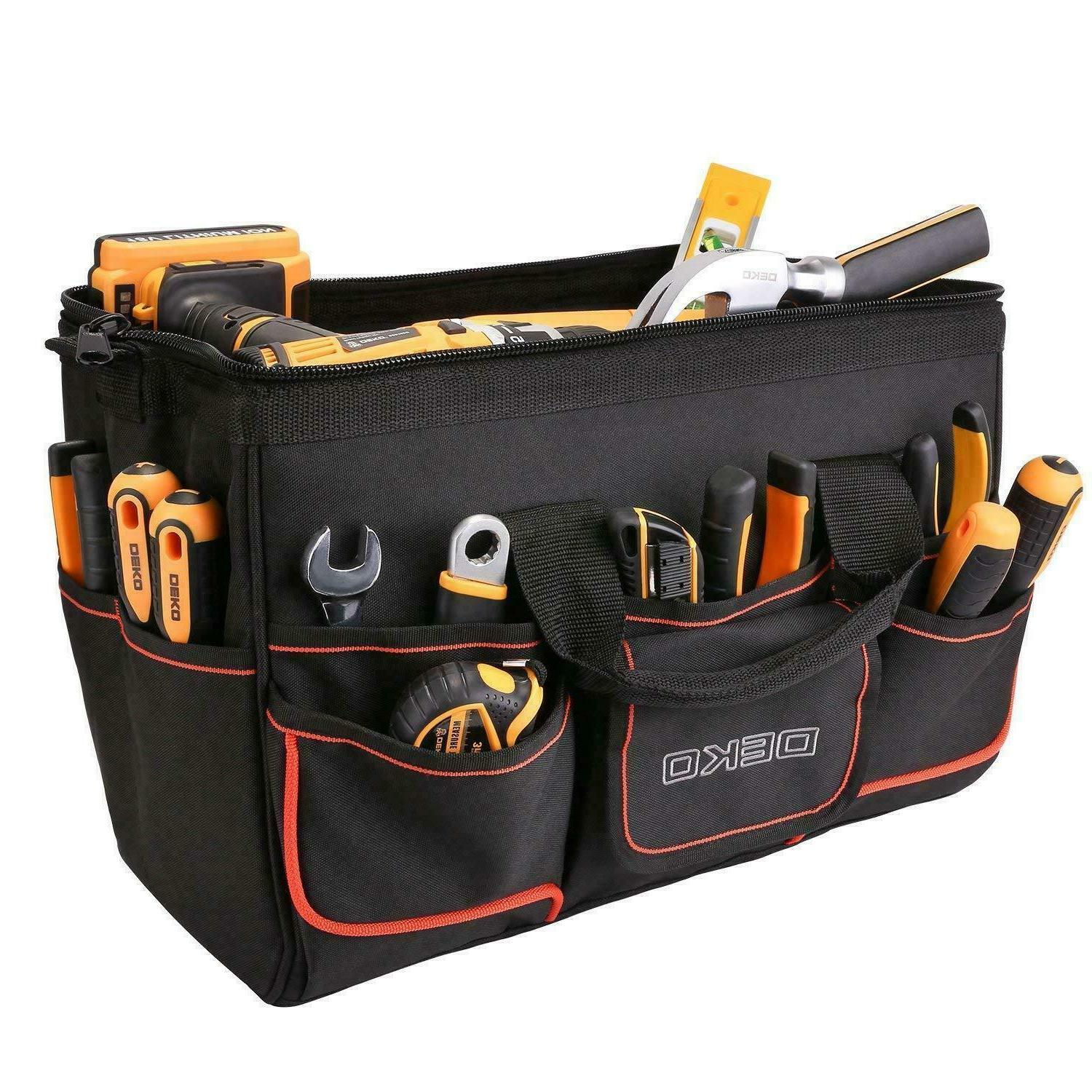 DEKO Large 7 Pocket Heavy Duty Tool Bag Wide Mouth