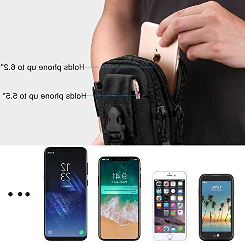 MoKo Outdoor Bag, Pouch Trekking Belt Purse for iPhone Xs Plus/8, Samsung Google Pixel XL - Black