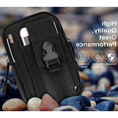 MoKo Outdoor Waist Bag, Molle Pouch Camping Belt Purse iPhone Xs Samsung Note Plus/S9, Google 3/Pixel XL - Black